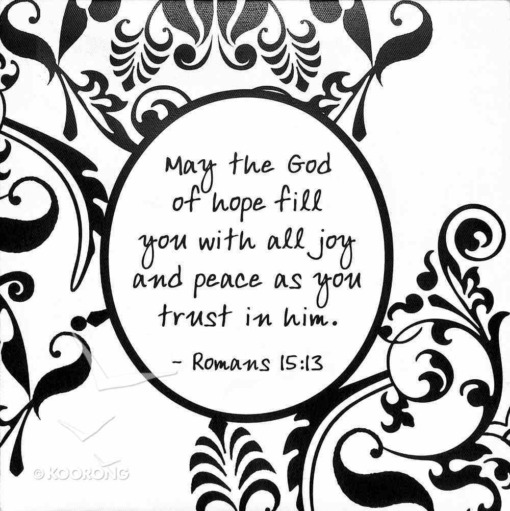 Shabby Chic Canvas Wall Art: Romans 15:13 May the God of Hope Fill You With Joy.... Plaque