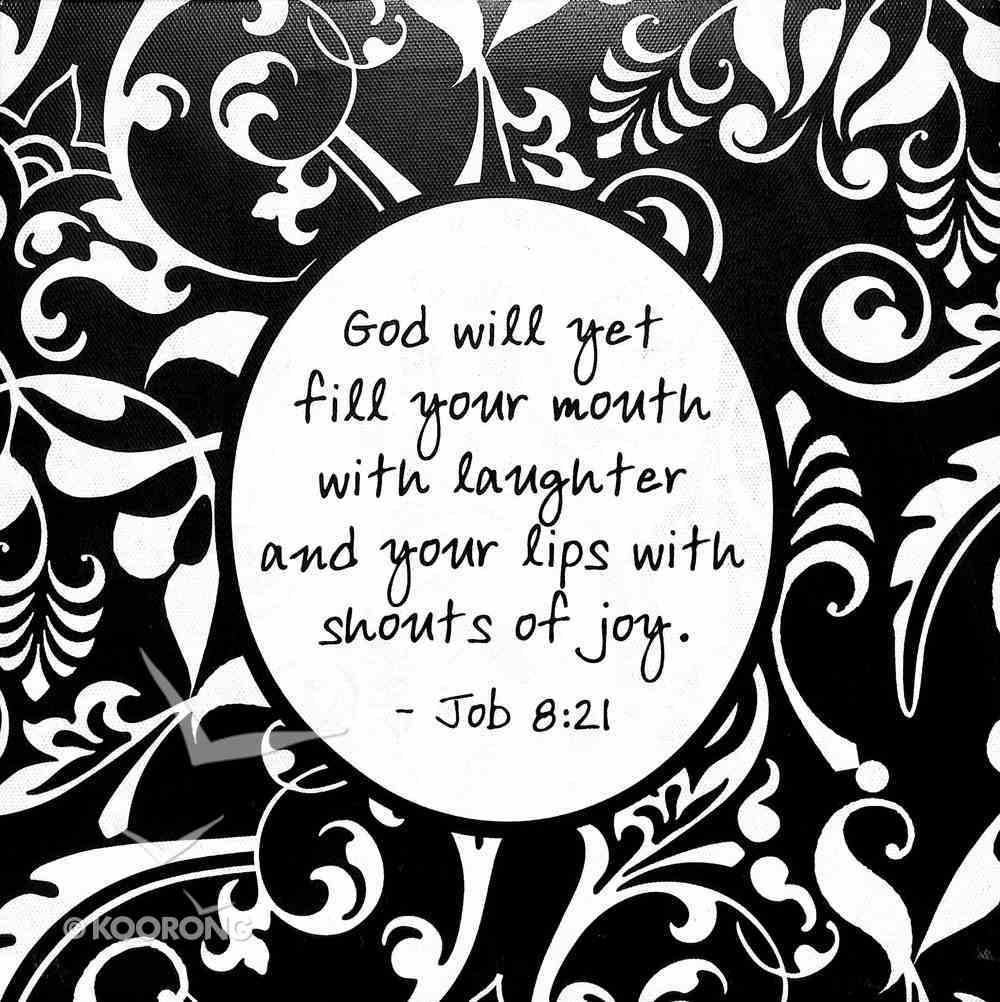 Shabby Chic Canvas Wall Art: Job 8:21 God Will Yet Fill Your Mouth With Laughter..... Plaque