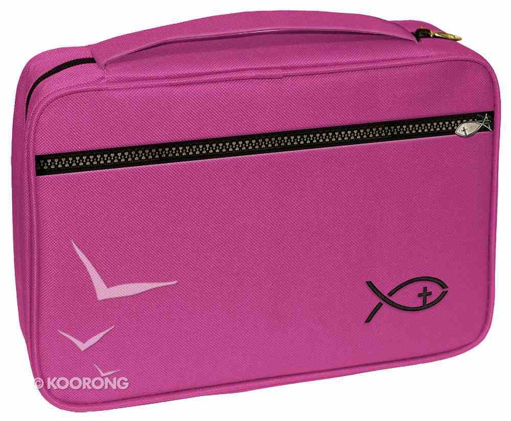Bible Cover Deluxe With Fish Symbol: Fuchsia Xlarge Bible Cover