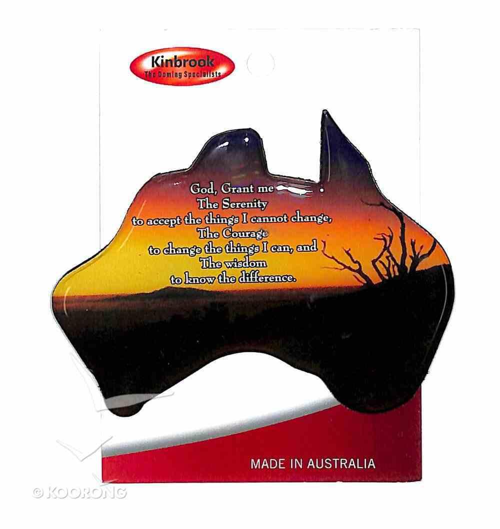 Christian Australia Map Shaped Resin Fridge Magnet: Tree/Sunset/Plain Novelty