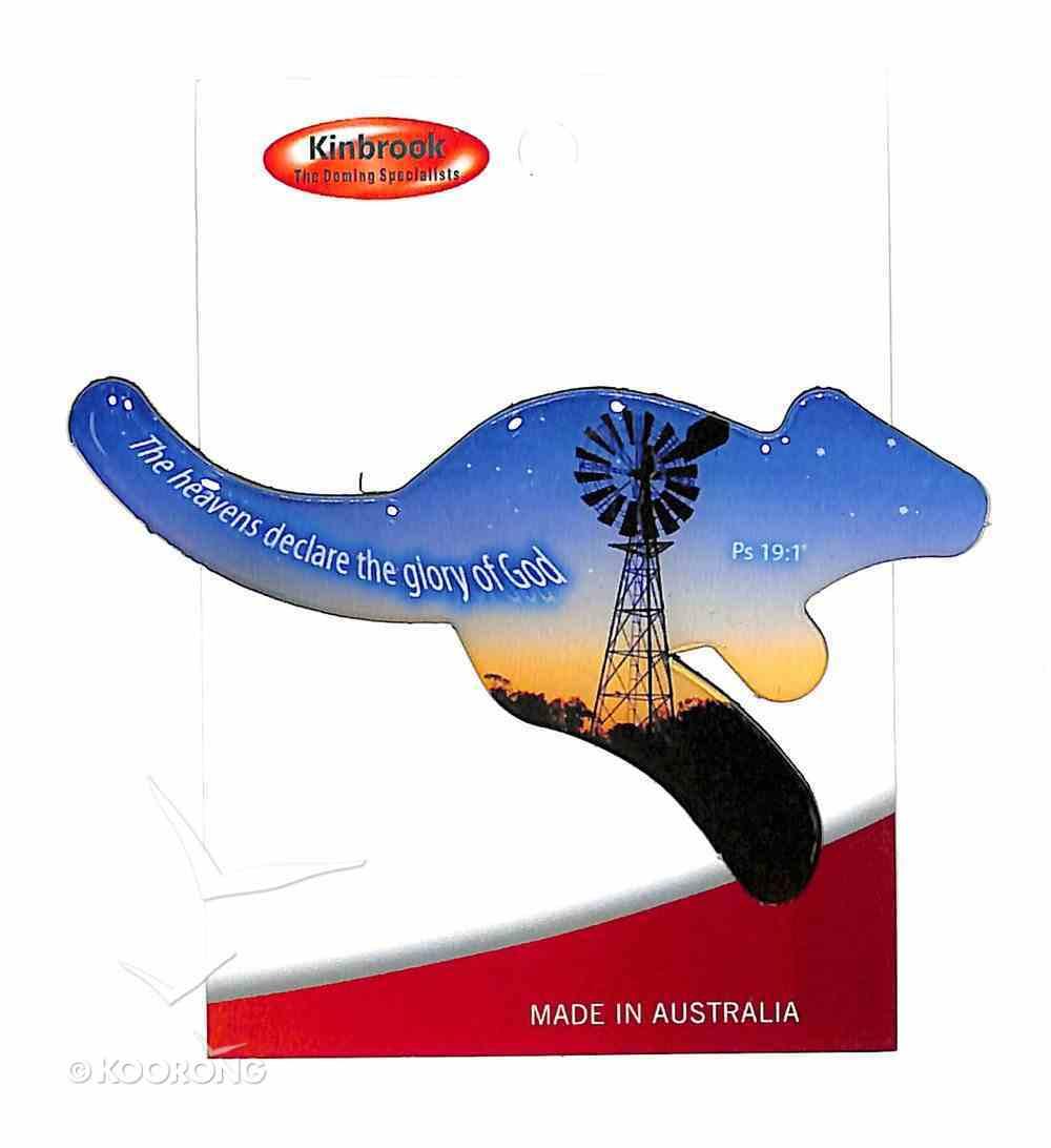 Christian Kangaroo Shaped Resin Fridge Magnet: Windmill/Heavens/Ps 19:1 Novelty