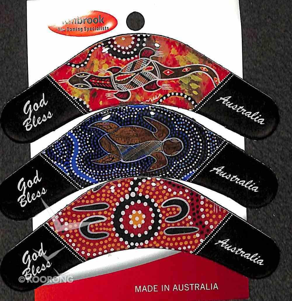 Christian Boomerang Set of 3 Resin Fridge Magnets: God Bless Australia Novelty