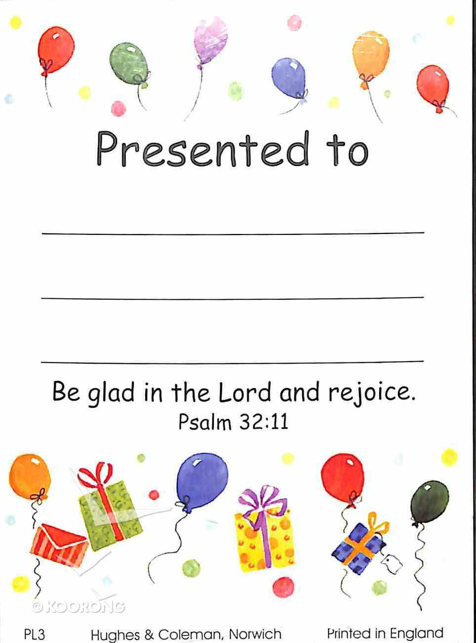 Presentation Labels: Balloons, Presents, Psalm 32:11 (100 Pack) Stationery