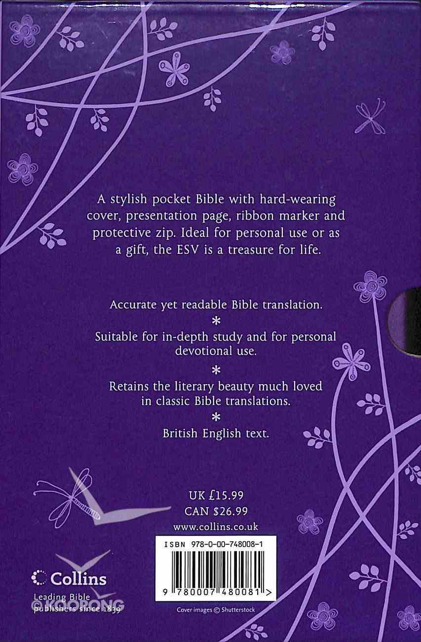 ESV Anglicized Compact Gift Bible Purple With Zip Imitation Leather