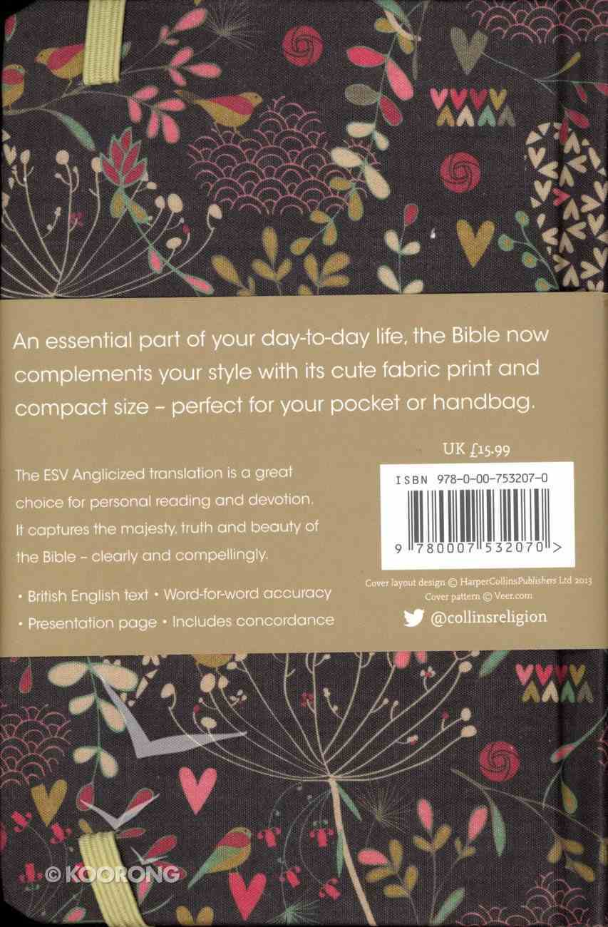 ESV Anglicized Compact Bible Hearts and Flowers Hardback