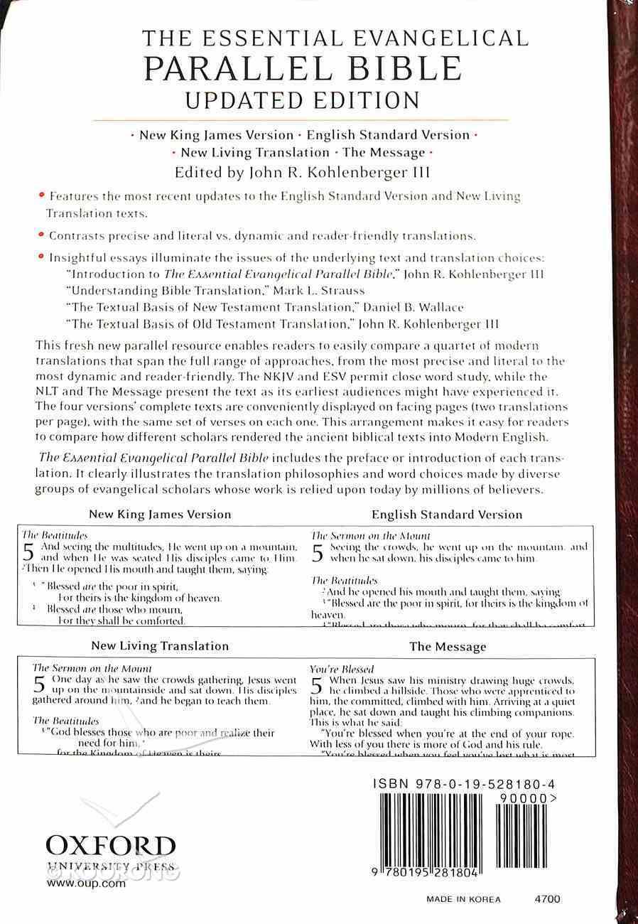 Nkjv/Esv/Nlt/The Message Essential Evangelical Parallel Bible Hardback