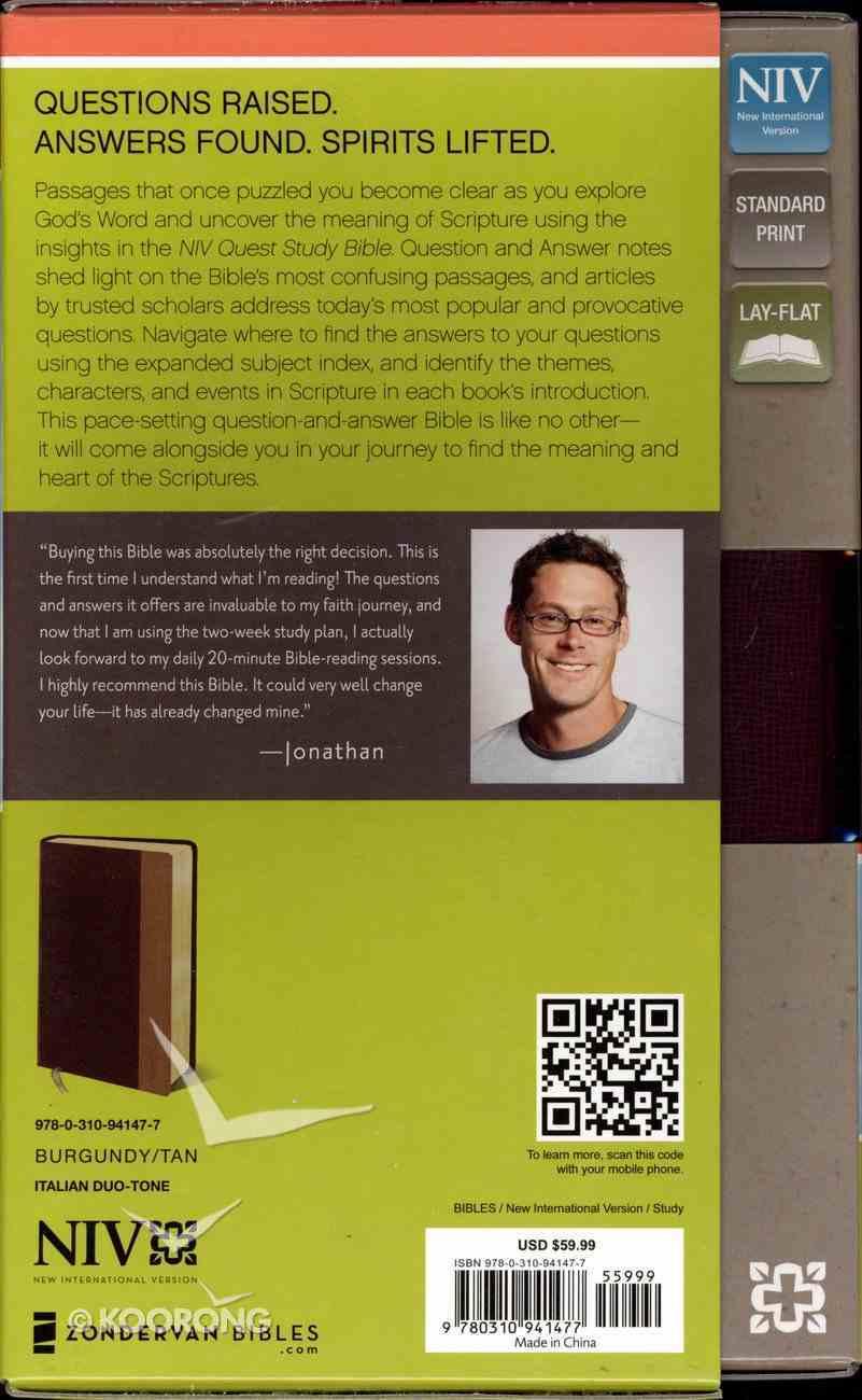NIV Quest Personal Size Study Bible Burgundy/Tan (Black Letter Edition) Premium Imitation Leather