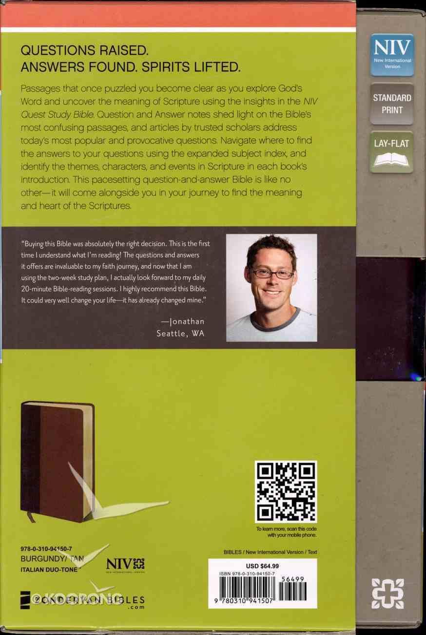NIV Quest Standard Study Bible Burgundy/Tan (Black Letter Edition) Premium Imitation Leather