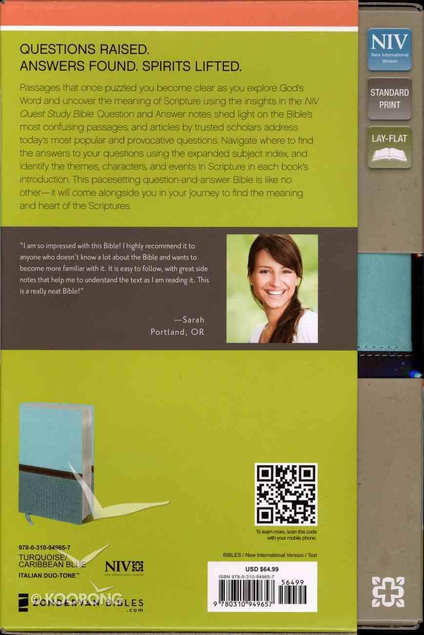 NIV Quest Standard Study Bible Turquoise/Caribbean (Black Letter Edition) Premium Imitation Leather