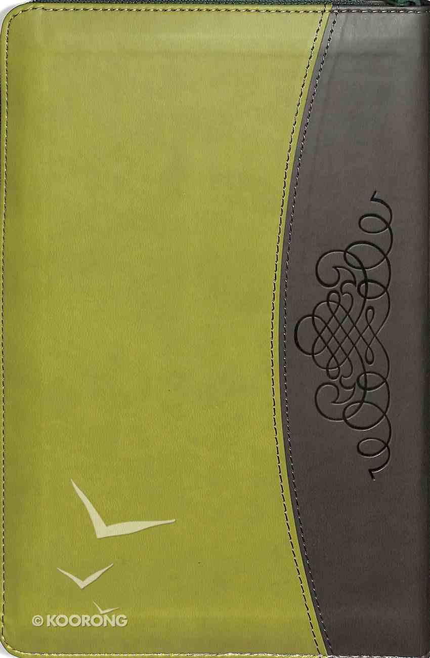 NIV Thinline Deluxe Bible Light Green Black With Zip Premium Imitation Leather