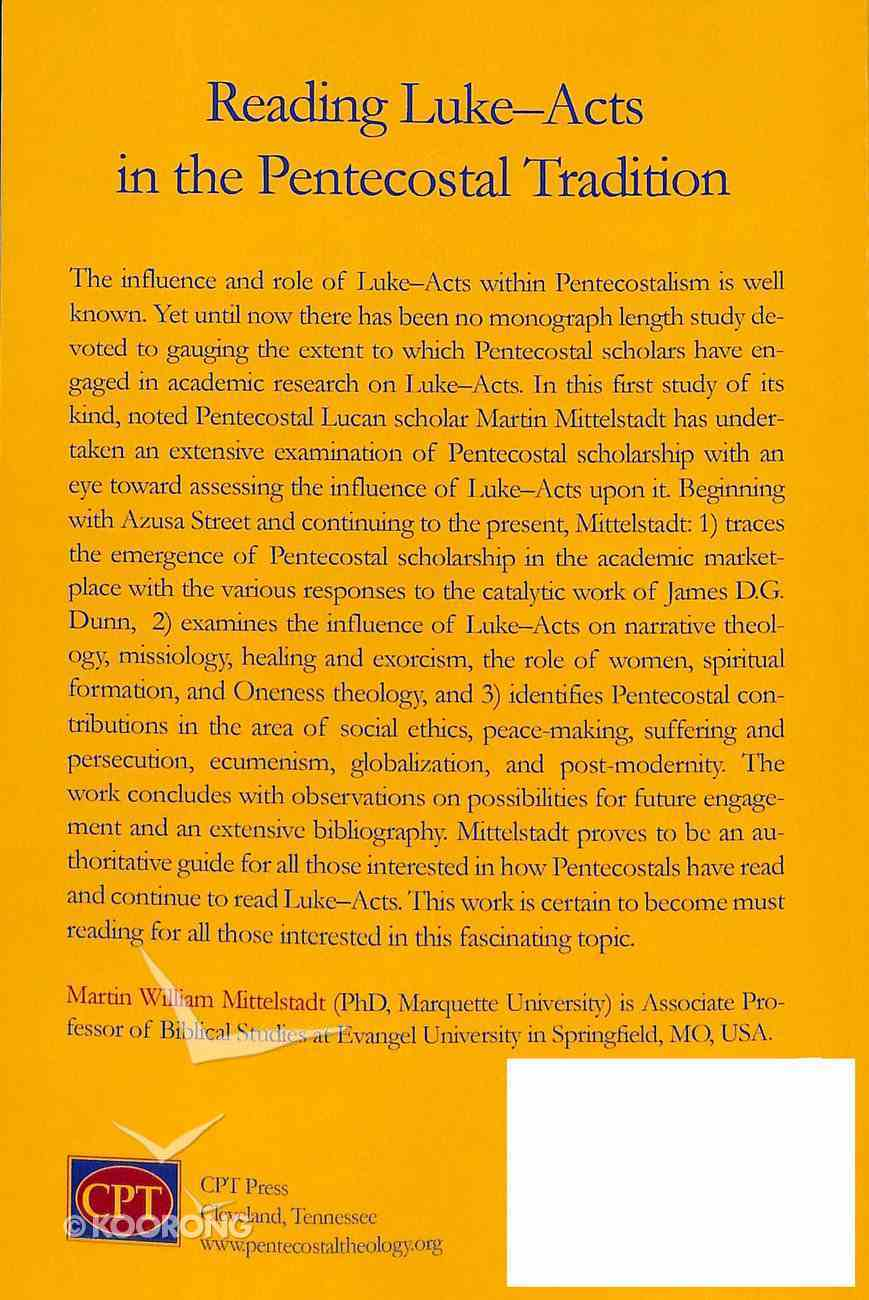 Reading Luke-Acts in the Pentecostal Tradition Paperback