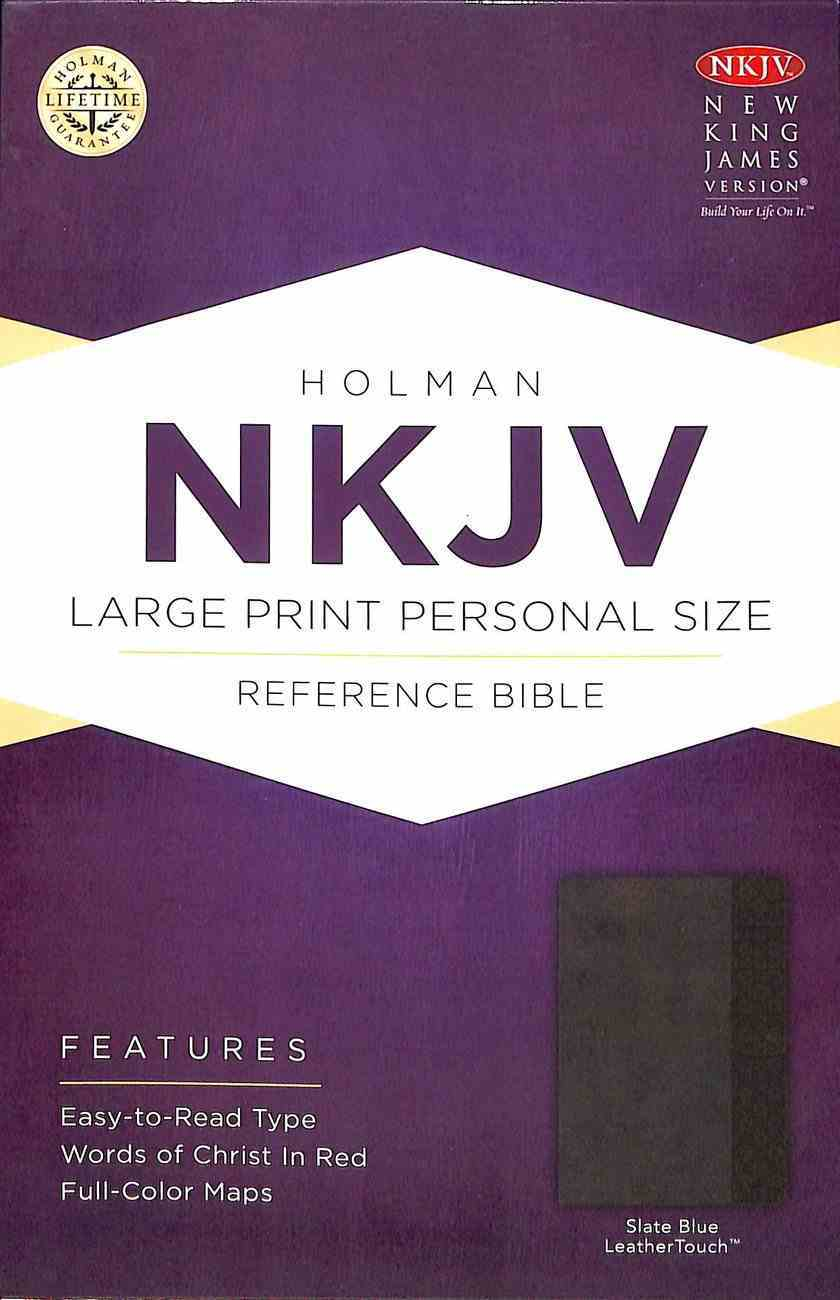 NKJV Large Print Personal Size Reference Bible Slate Blue Premium Imitation Leather