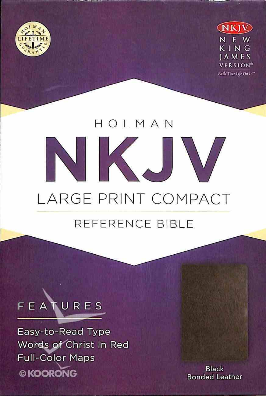 NKJV Large Print Compact Reference Bible Black Bonded Leather