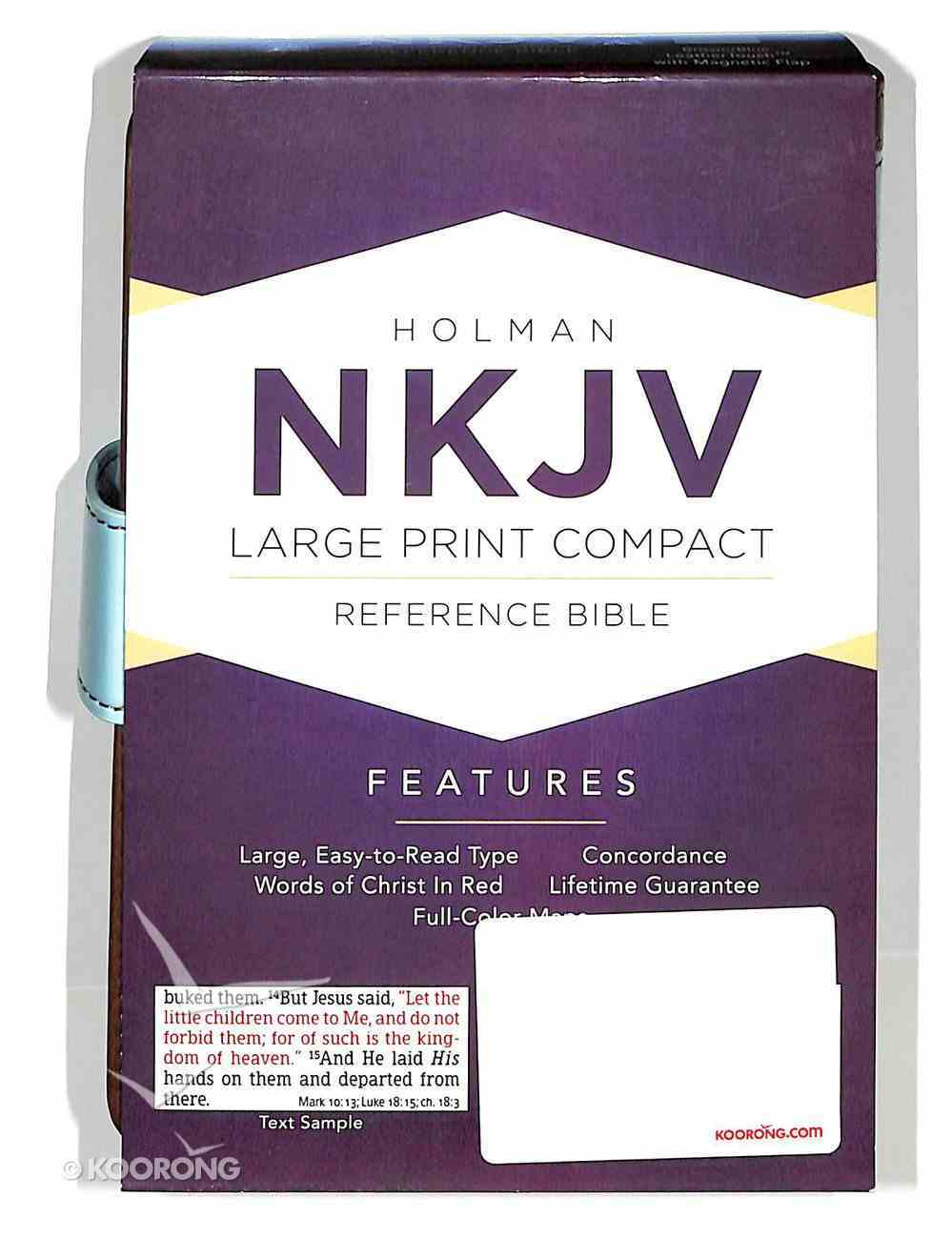 NKJV Large Print Compact Reference Bible With Magnetic Flap Brown/Blue Leathertouch Premium Imitation Leather