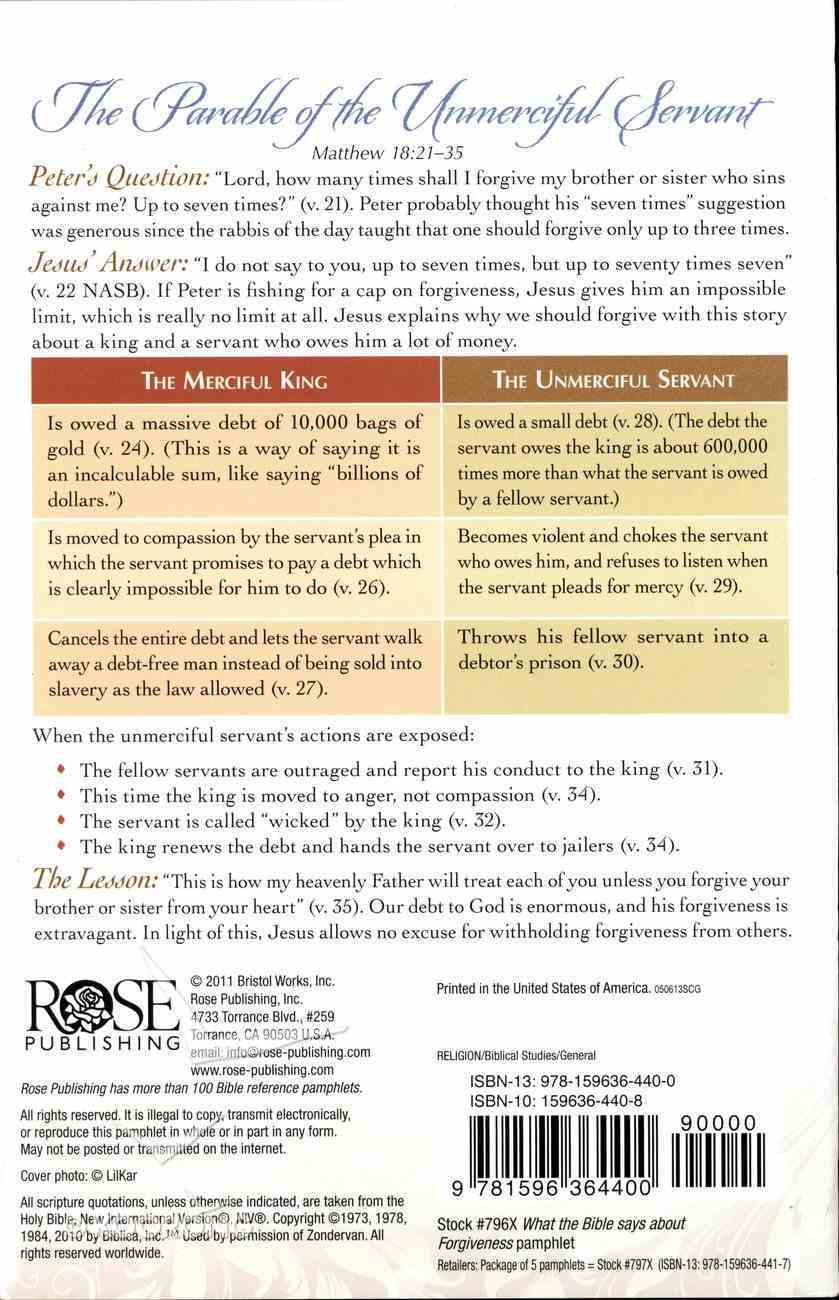 What the Bible Says About Forgiveness (Rose Guide Series) Pamphlet
