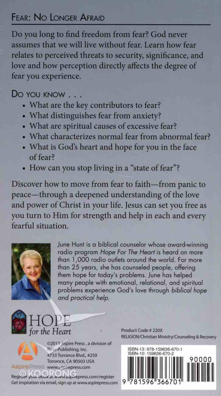 Fear - No Longer Afraid (Hope For The Heart Series) Paperback