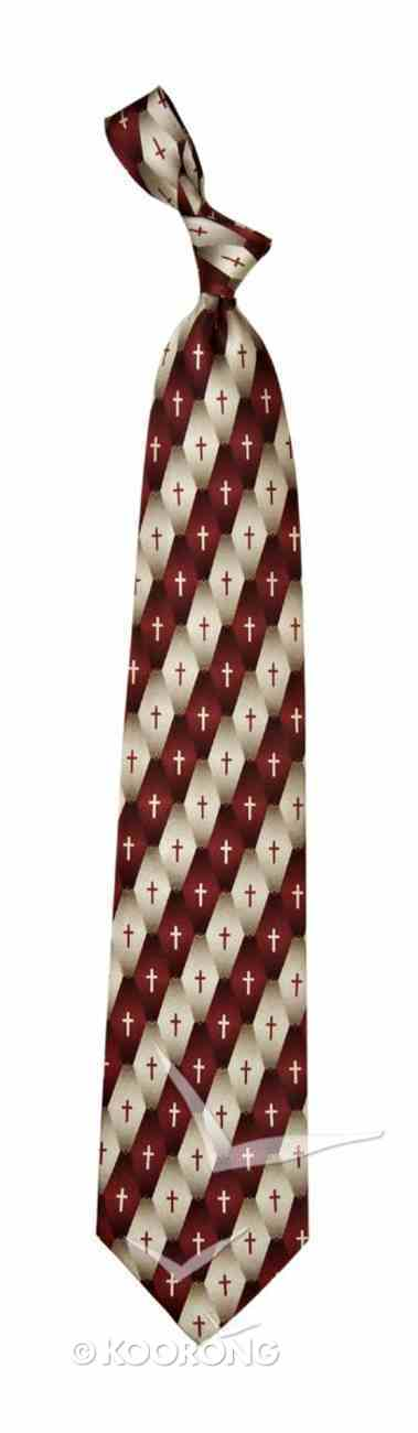 Silk Tie: Gradient Pattern Cross (Burgundy) Soft Goods