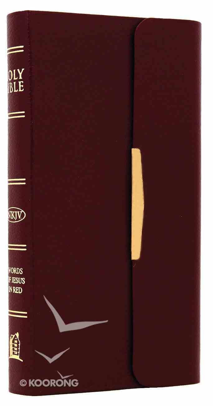 NKJV Checkbook Bible Snap Flap Burgundy (Red Letter Edition) Bonded Leather