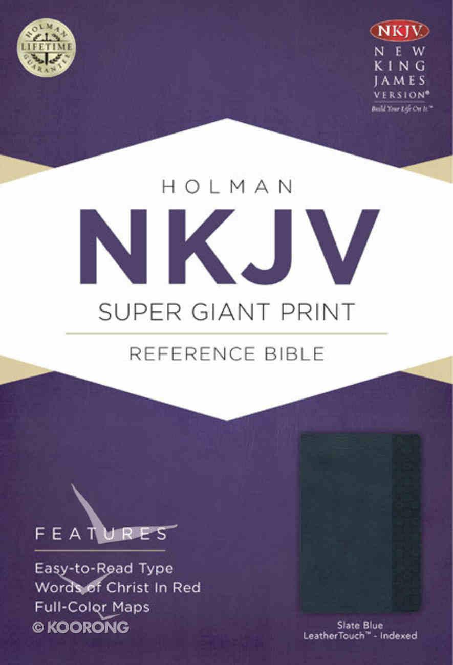 NKJV Super Giant Print Reference Indexed Bible Slate Blue Imitation Leather