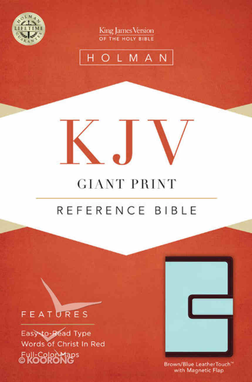 KJV Giant Print Reference Bible With Magnetic Flap, Brown/Blue Leathertouch Premium Imitation Leather