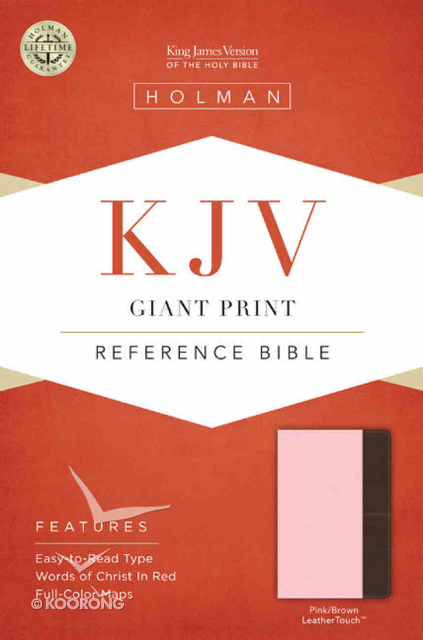 KJV Giant Print Reference Bible Pink/Brown Leathertouch Premium Imitation Leather