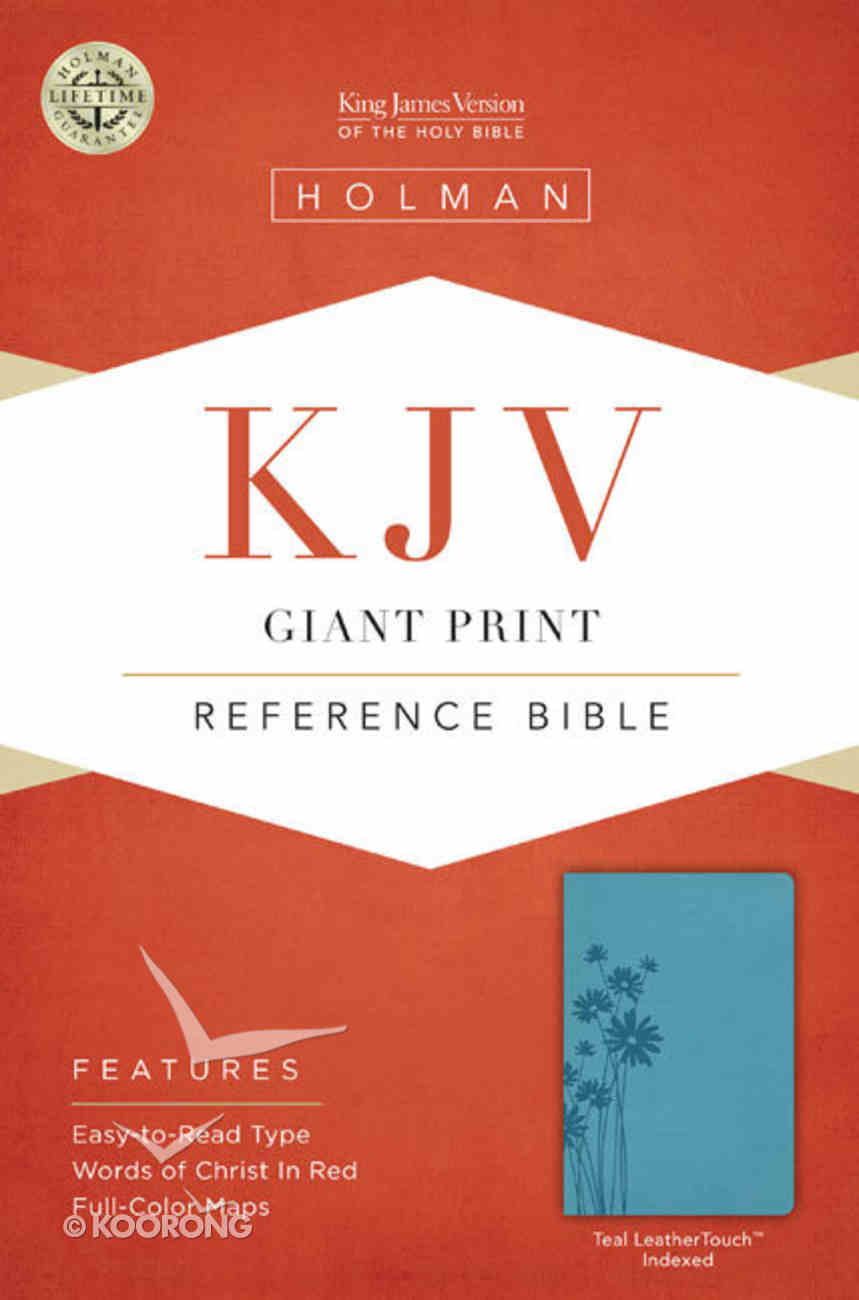 KJV Giant Print Reference Indexed Bible, Teal Leathertouch Premium Imitation Leather