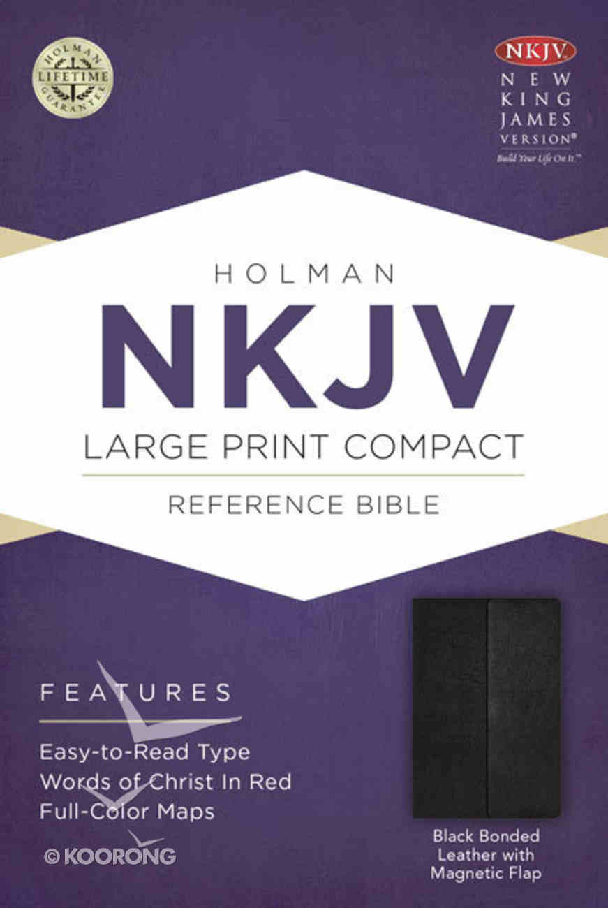 NKJV Large Print Compact Reference Bible With Magnetic Flap Black Bonded Leather