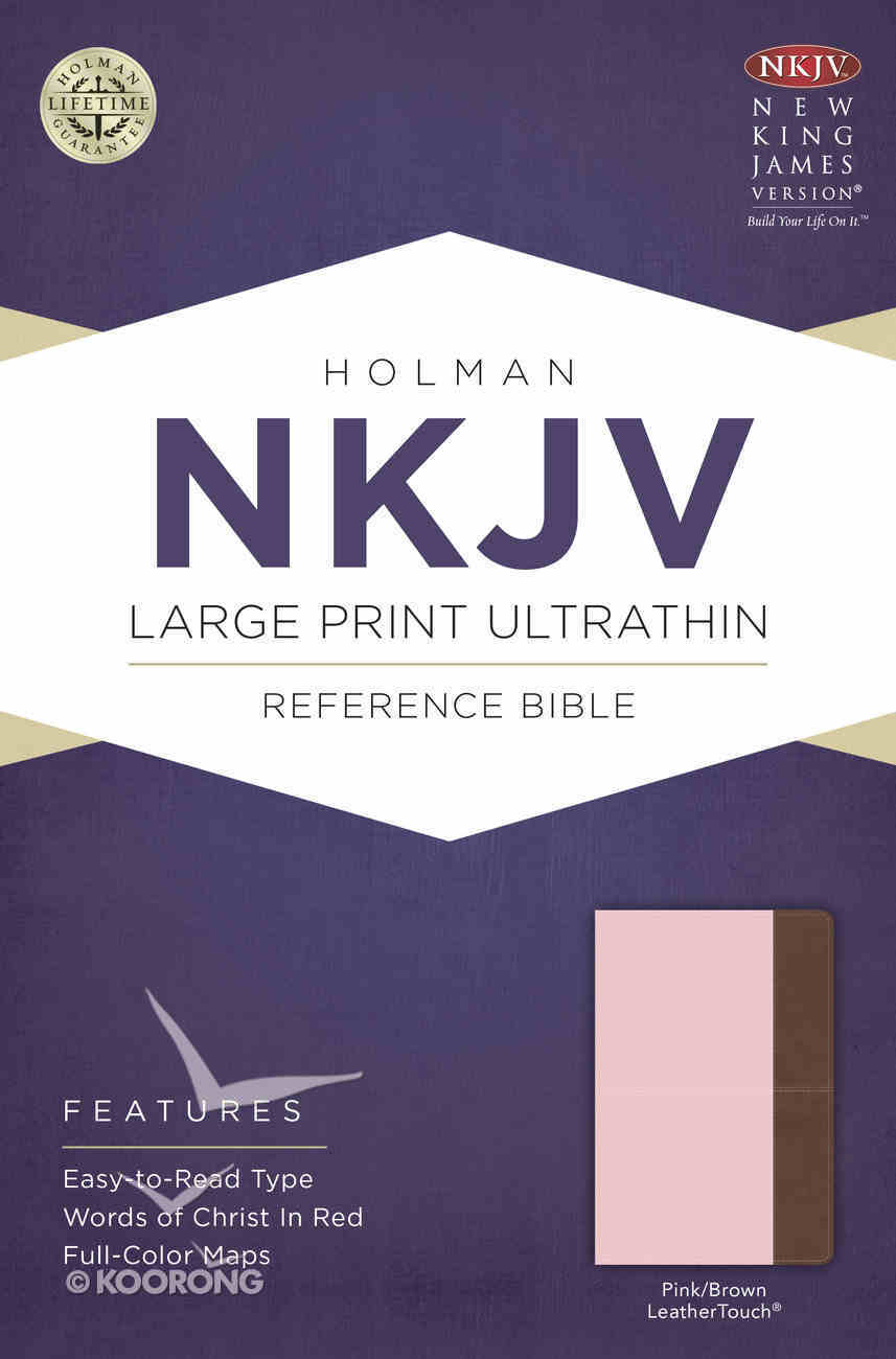 NKJV Large Print Ultrathin Reference Bible Pink/Brown Leathertouch Imitation Leather