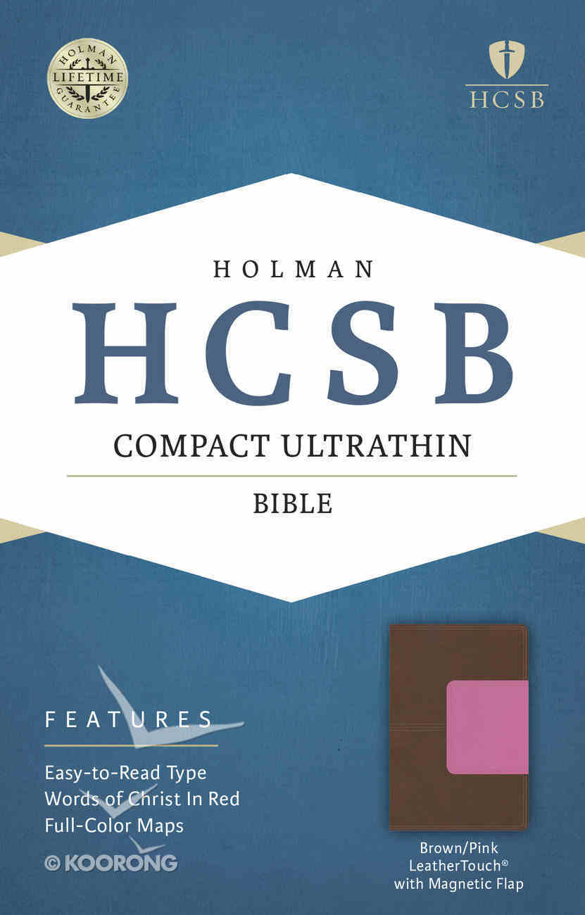 HCSB Compact Ultrathin Bible Pink Brown Leathertouch With Magnetic Flap Imitation Leather