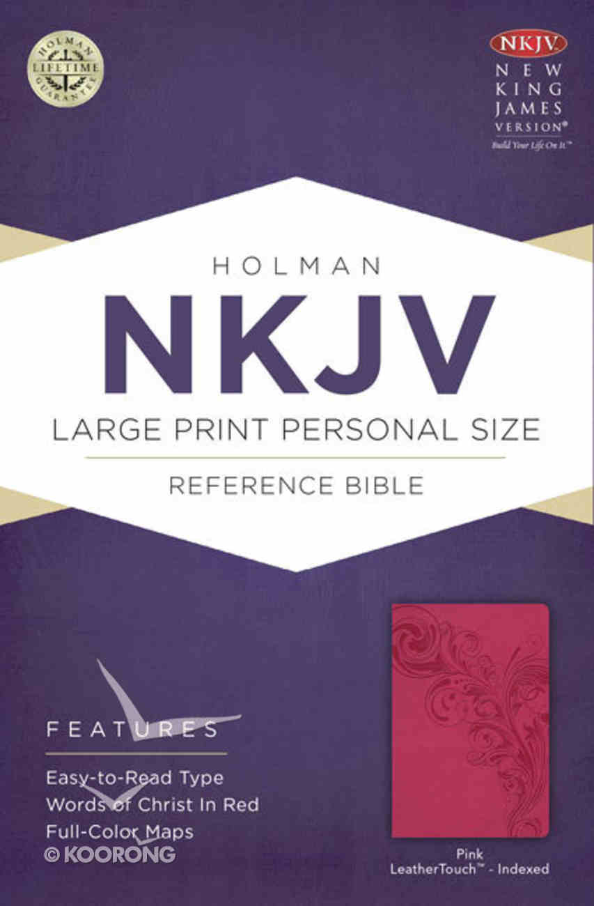 NKJV Large Print Personal Size Reference Indexed Bible Pink Premium Imitation Leather
