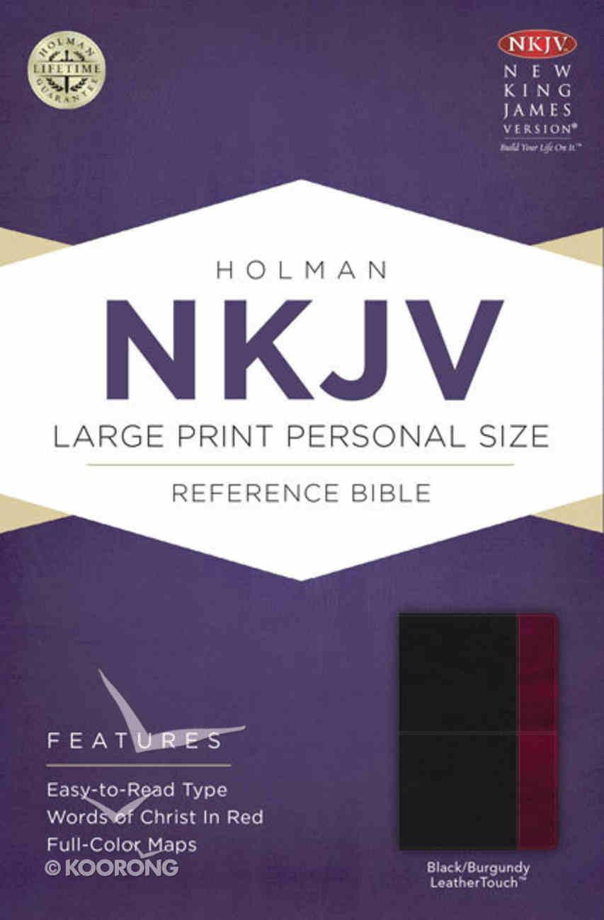 NKJV Large Print Personal Size Reference Bible, Black/Burgundy Leathertouch Premium Imitation Leather