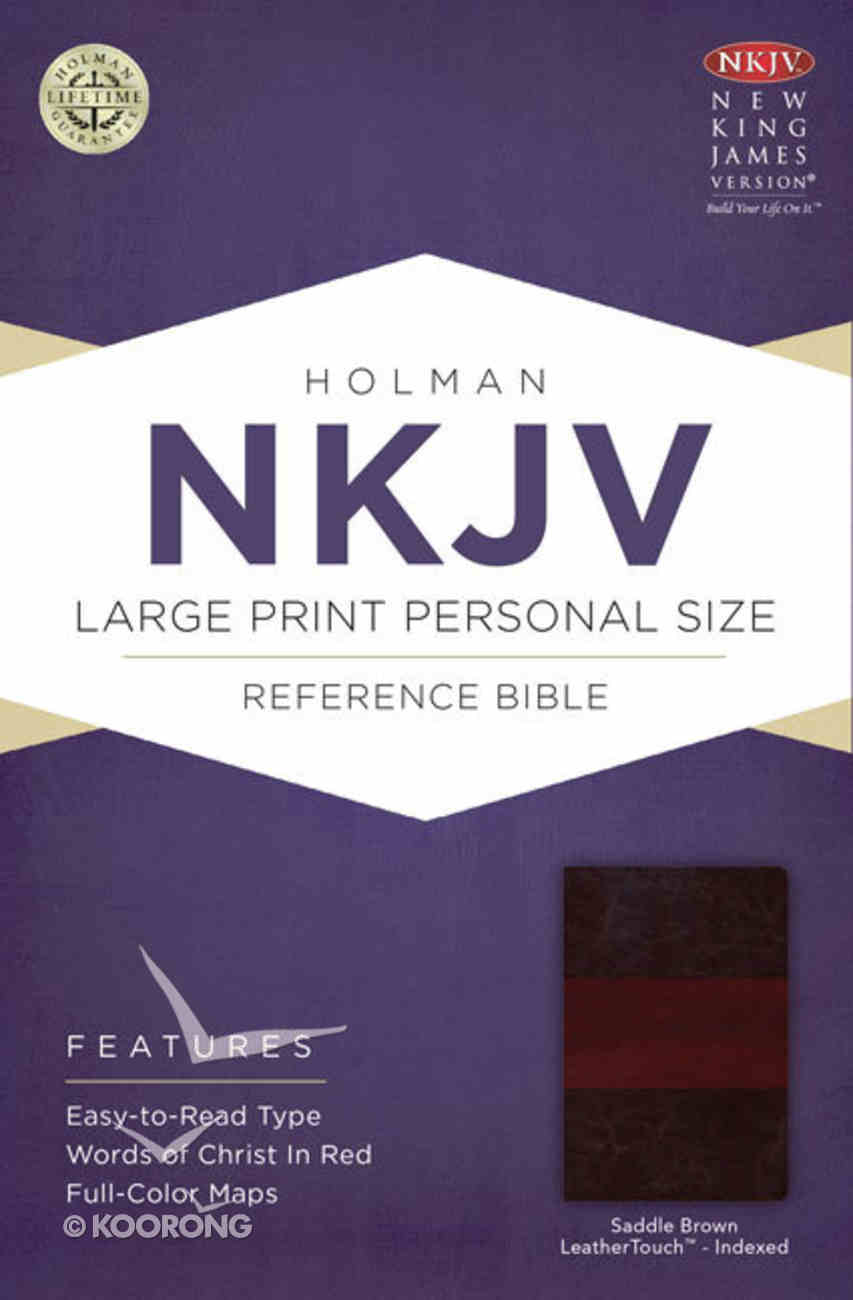 NKJV Large Print Personal Size Reference Indexed Bible Saddle Brown Premium Imitation Leather