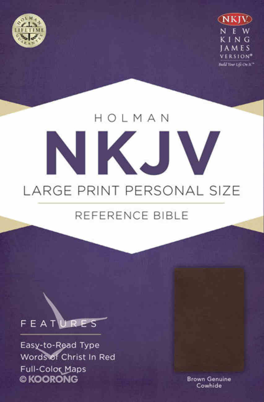 NKJV Large Print Personal Size Reference Bible, Brown Genuine Cowhide Genuine Leather
