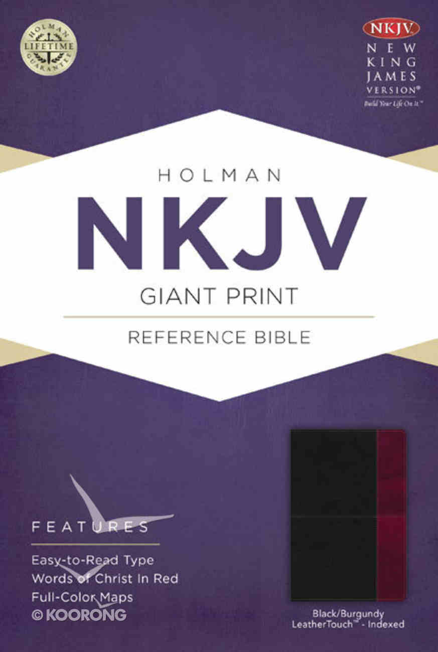 NKJV Giant Print Reference Indexed Bible, Black/Burgundy Leathertouch Premium Imitation Leather