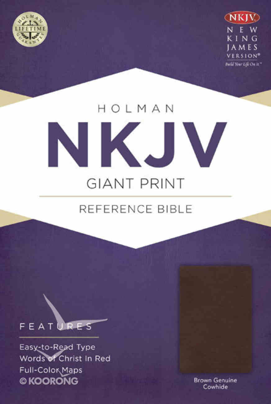 NKJV Giant Print Reference Bible, Brown Genuine Cowhide Genuine Leather