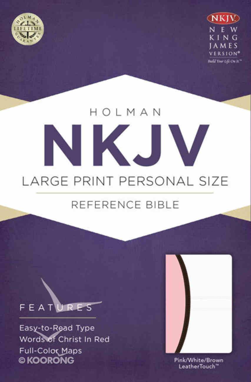 NKJV Large Print Personal Size Reference Bible Pink/White/Dark Brown Premium Imitation Leather