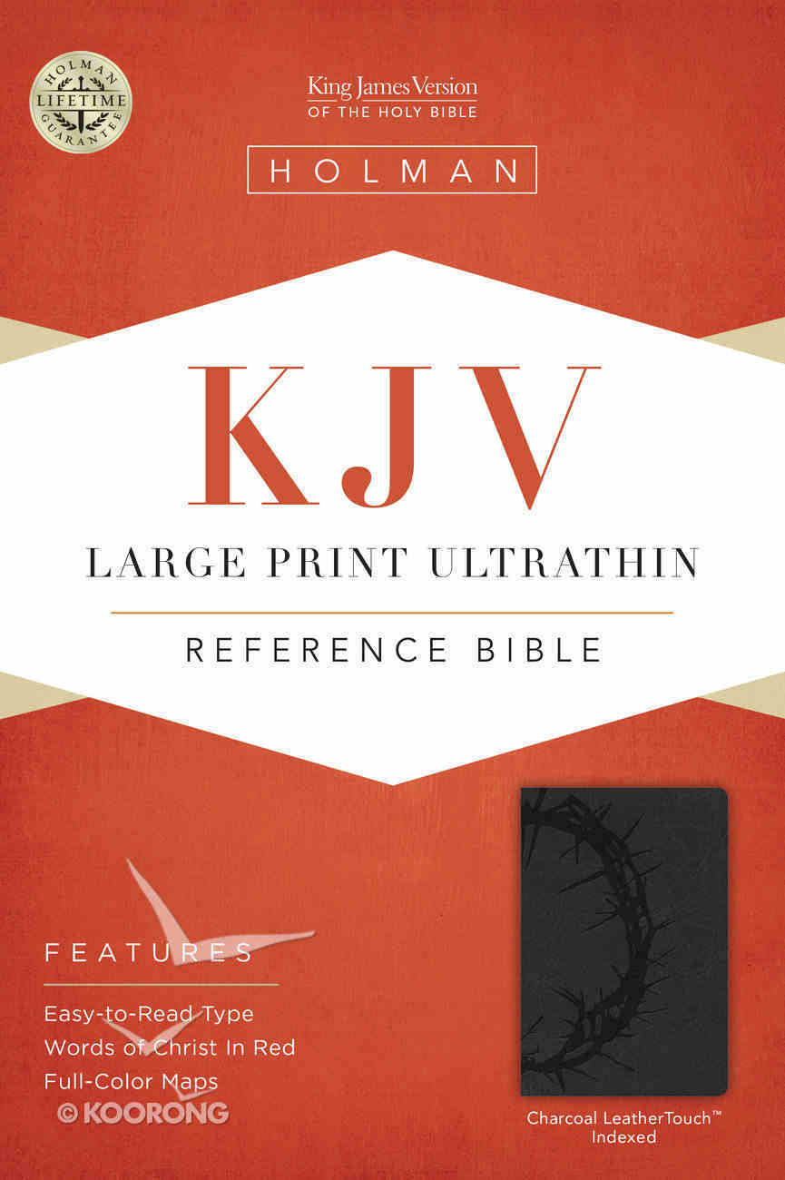 KJV Large Print Ultrathin Reference Indexed Bible, Charcoal Leathertouch Premium Imitation Leather