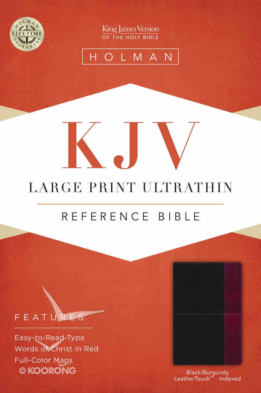 KJV Large Print Ultrathin Reference Bible, Black/Burgundy Leathertouch Premium Imitation Leather