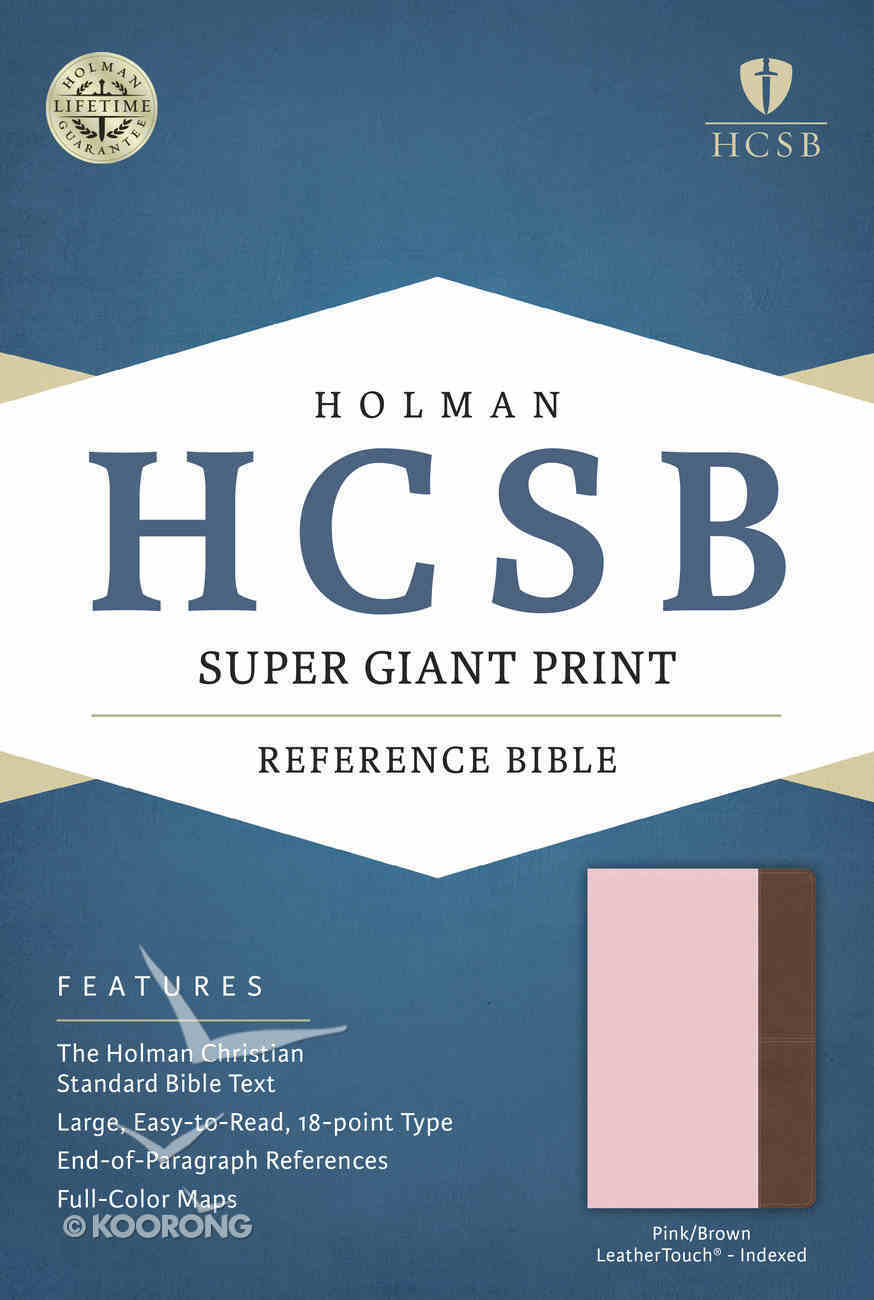 HCSB Super Giant Print Reference Bible Pink/Brown Leathertouch Indexed Imitation Leather