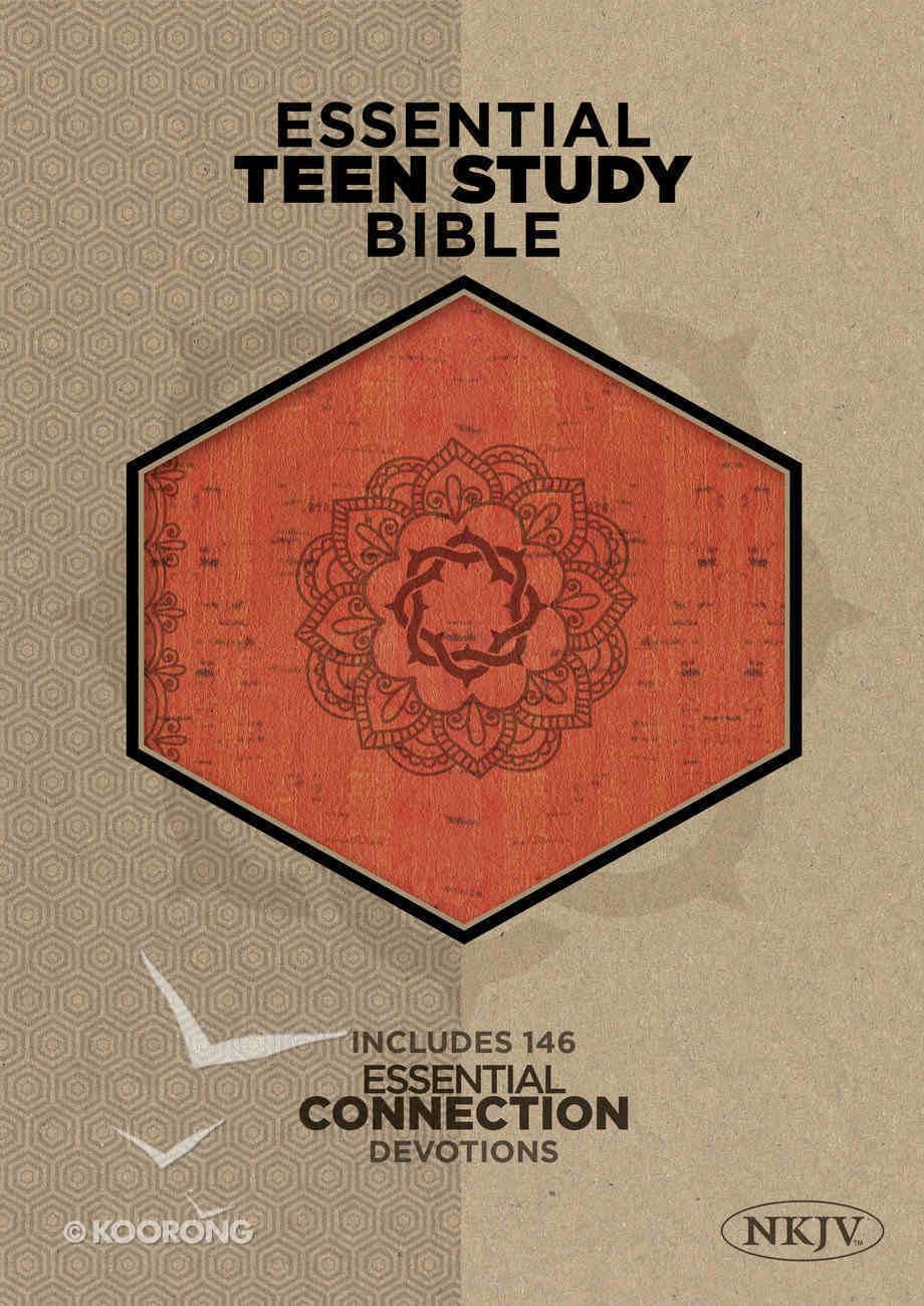 NKJV Essential Teen Study Bible Orange Cork Leathertouch Imitation Leather
