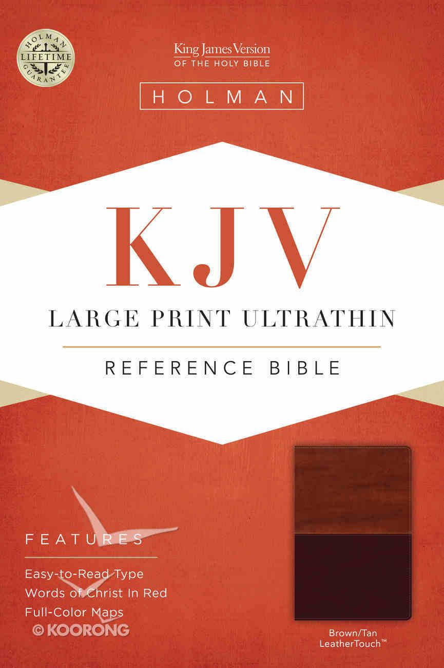 KJV Large Print Ultrathin Reference Bible, Brown/Tan Leathertouch Premium Imitation Leather