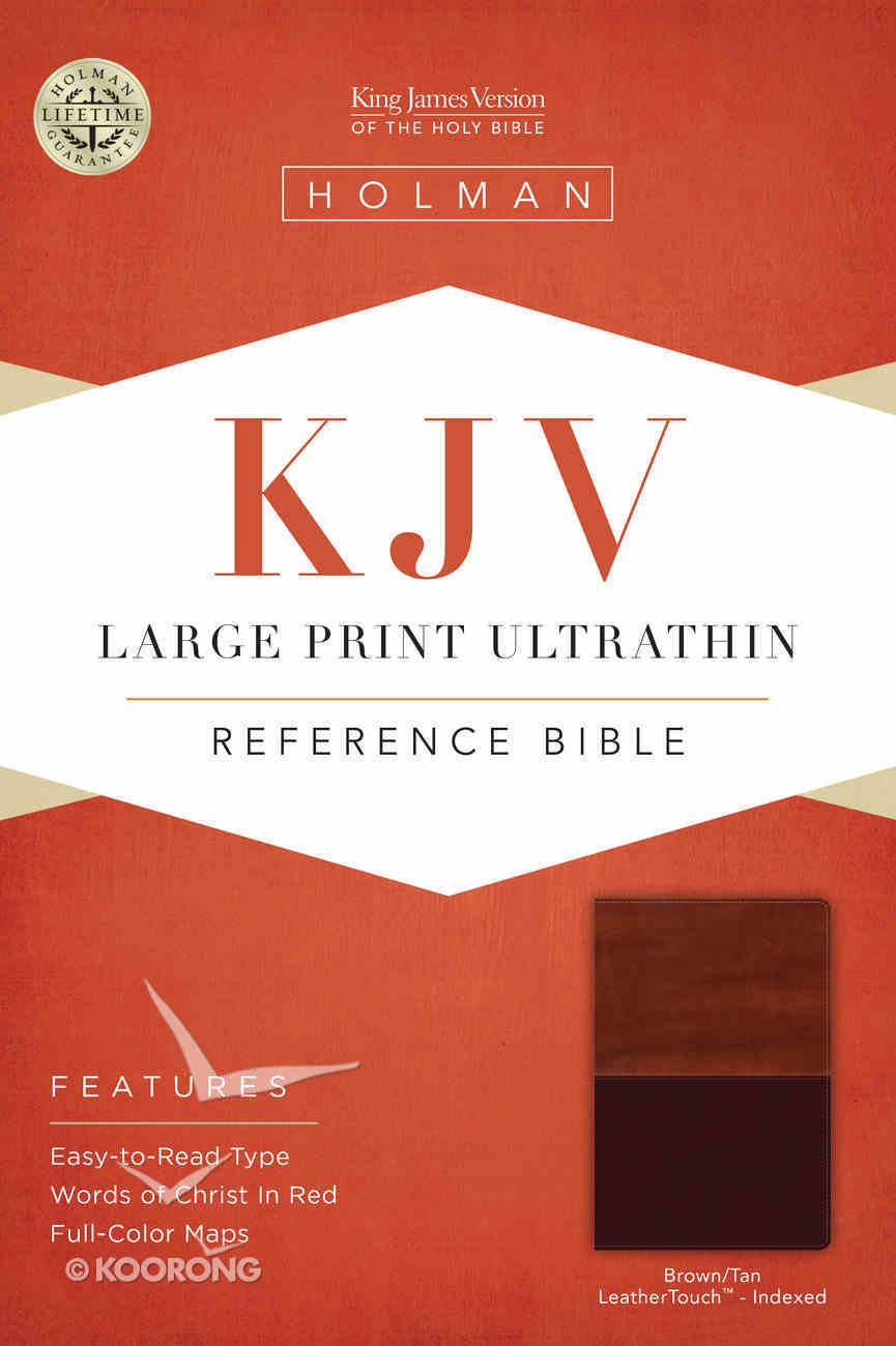 KJV Large Print Ultrathin Reference Indexed Bible, Brown/Tan Leathertouch Premium Imitation Leather