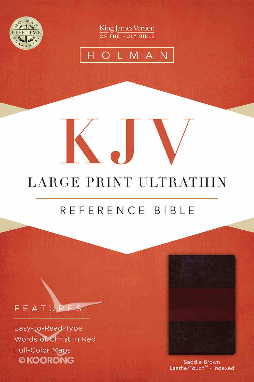 KJV Large Print Ultrathin Reference Indexed Vbible, Saddle Brown Leathertouch Premium Imitation Leather