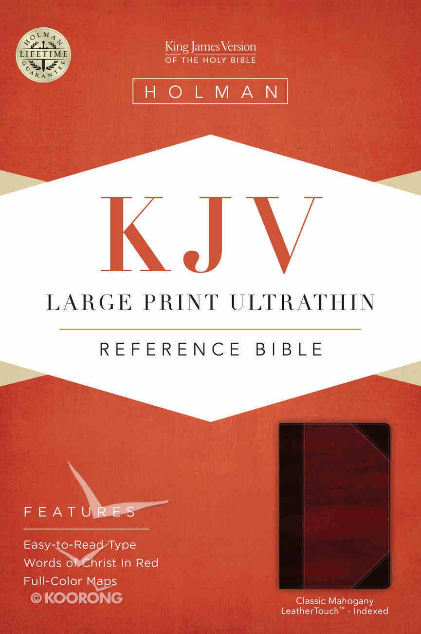KJV Large Print Ultrathin Reference Indexed Bible, Classic Mahogany Leathertouch Premium Imitation Leather