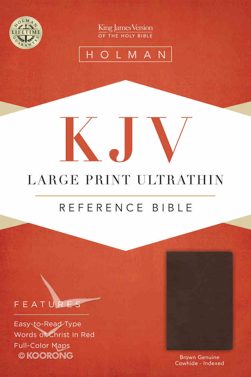 KJV Large Print Ultrathin Reference Indexed Bible, Brown Genuine Cowhide Genuine Leather