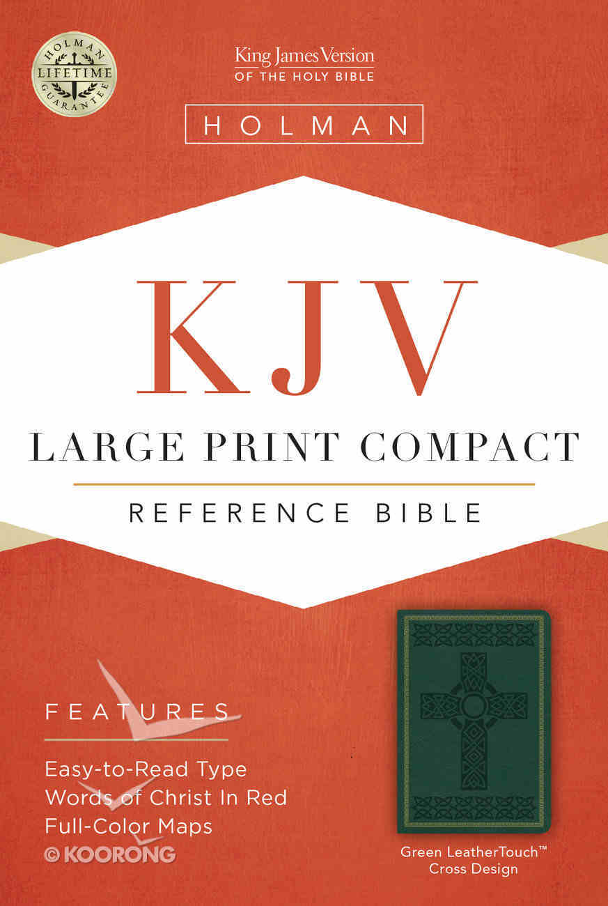KJV Large Print Compact Reference Bible, Green Leathertouch Premium Imitation Leather