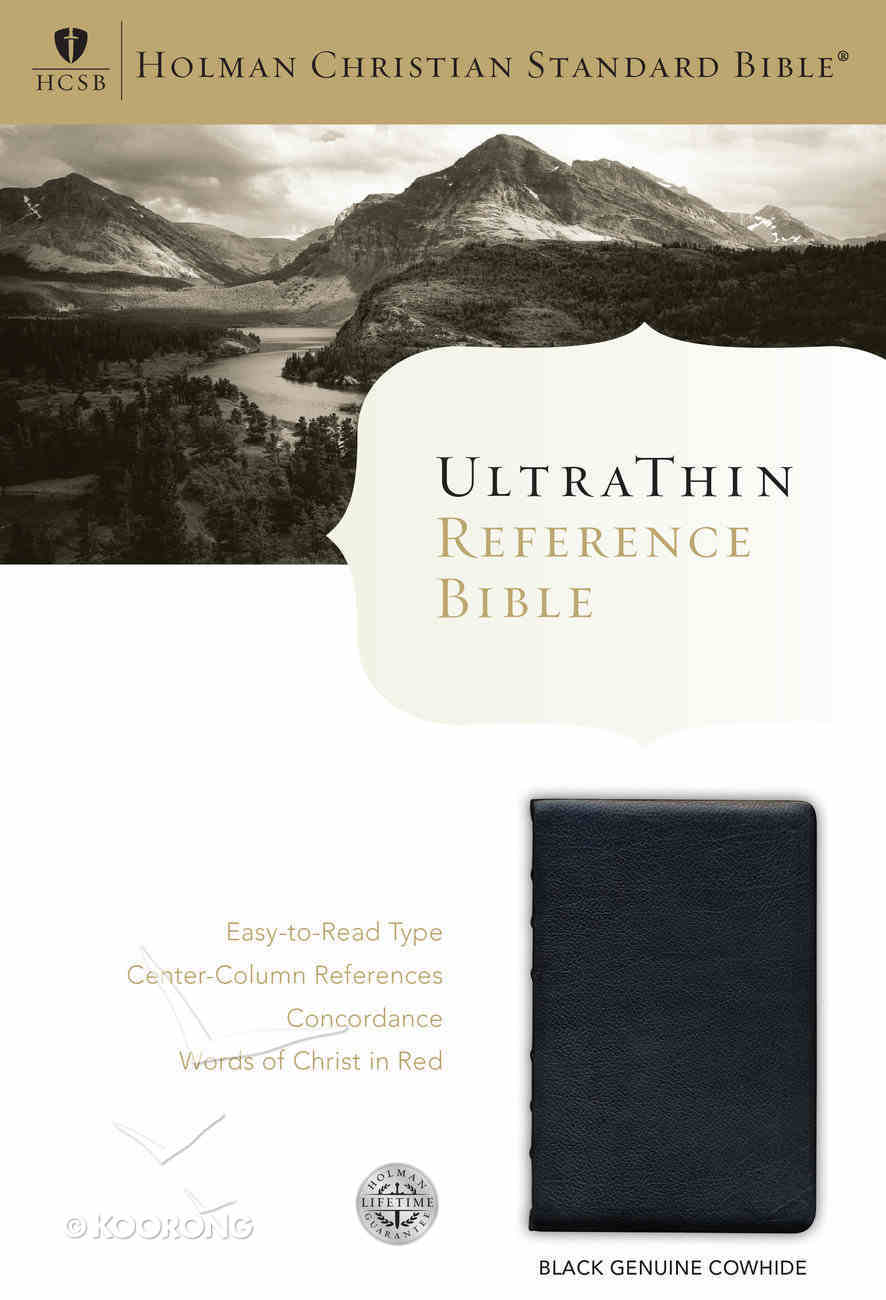 HCSB Ultrathin Reference Bible, Black Genuine Calfskin Leather Genuine Leather