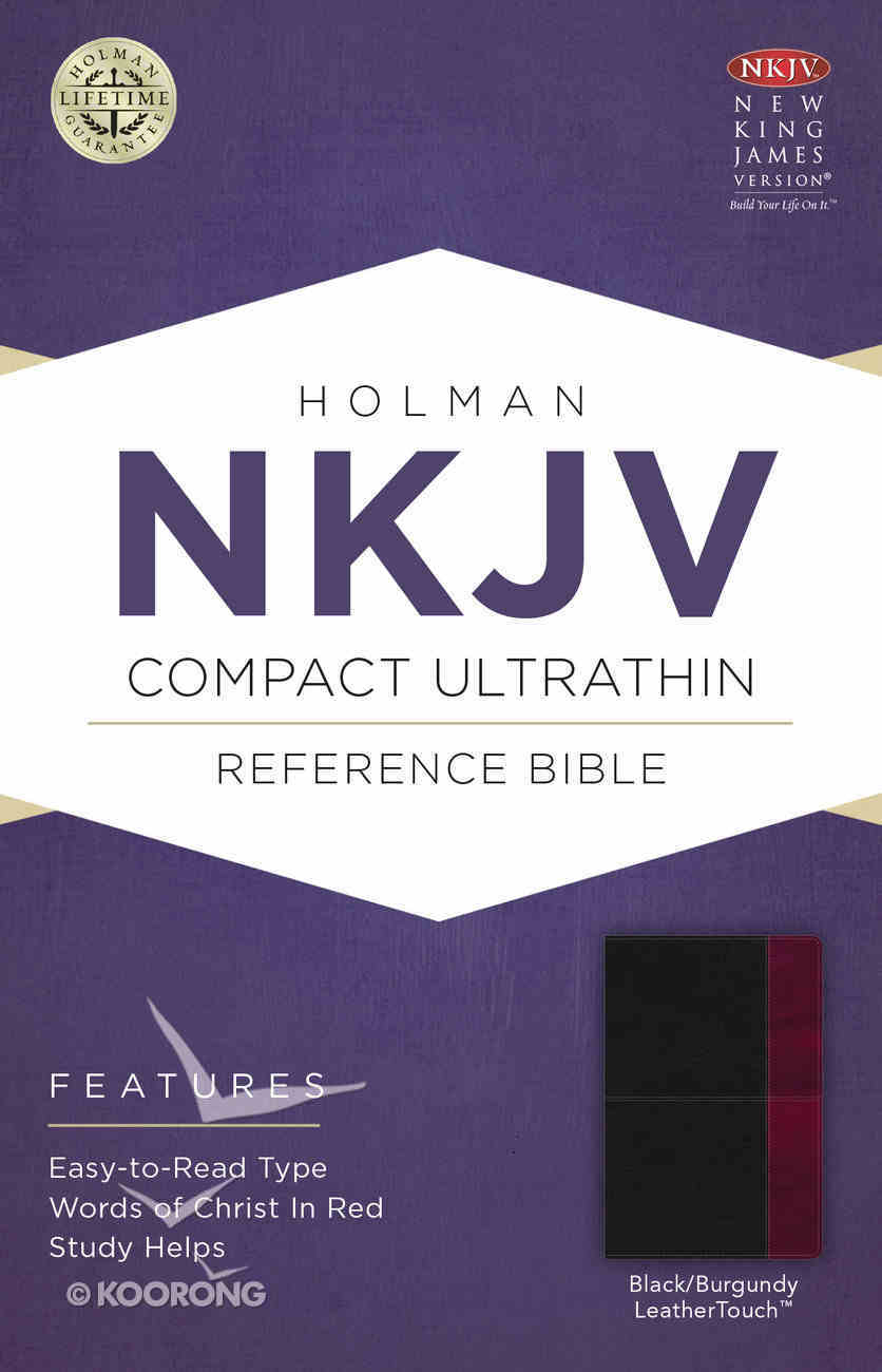 NKJV Compact Ultrathin Reference Bible Black/Burgundy Leathertouch Premium Imitation Leather