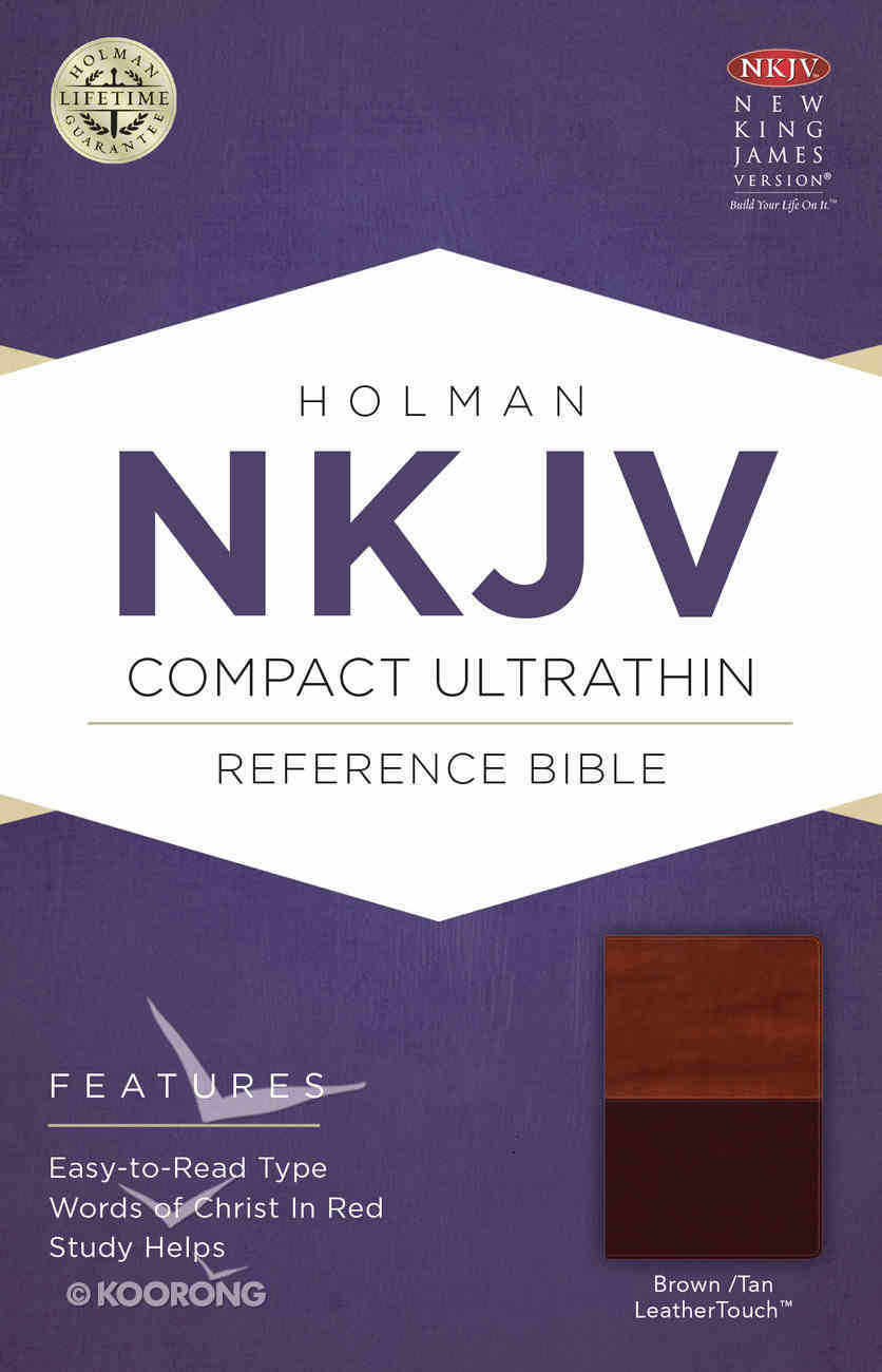 NKJV Compact Ultrathin Reference Bible Brown/Tan Leathertouch Premium Imitation Leather