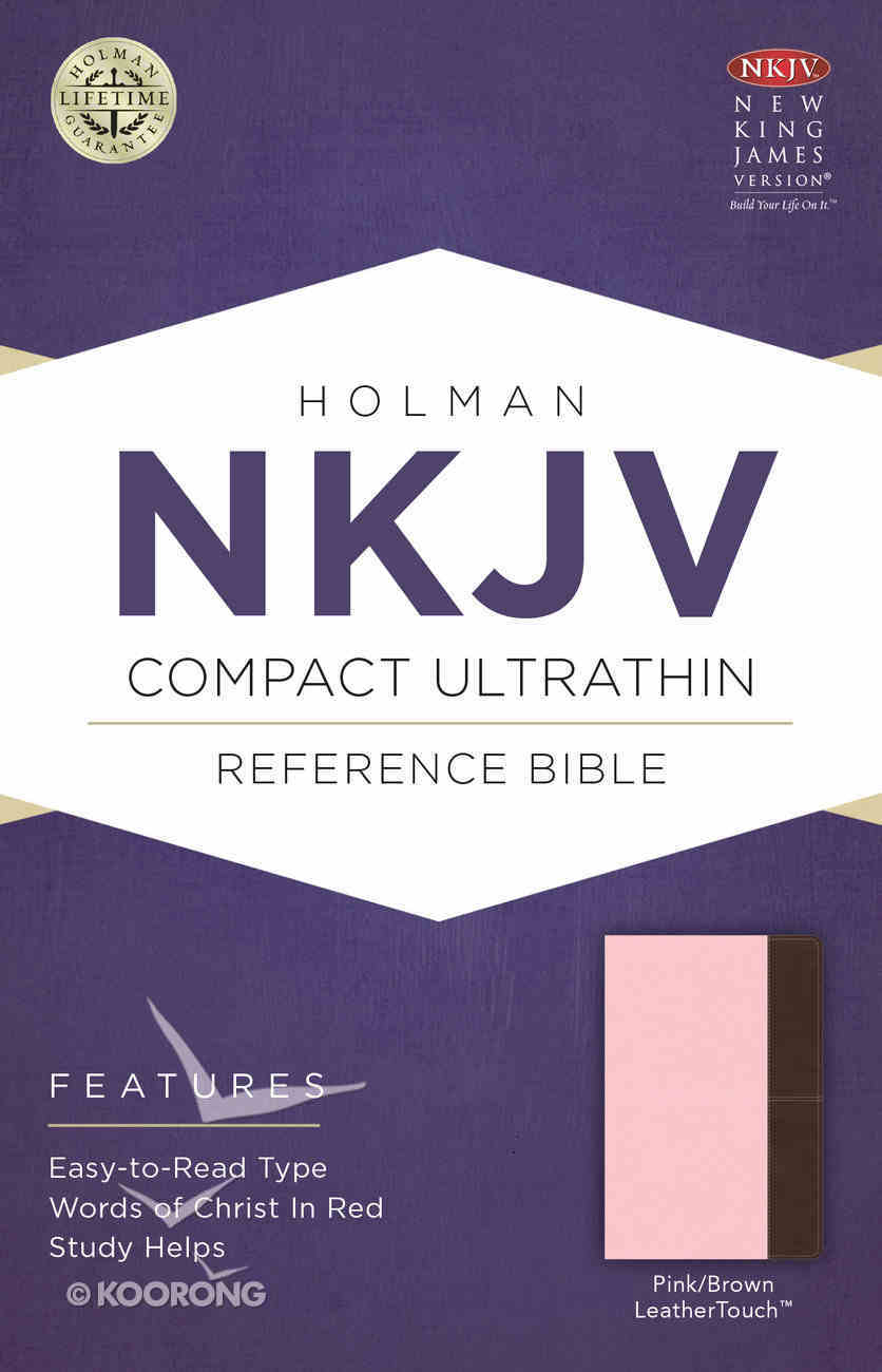 NKJV Compact Ultrathin Reference Bible Pink/Brown Leathertouch Premium Imitation Leather